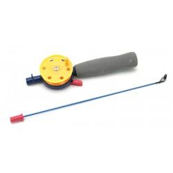 Winter rod with neoprene handle (44 cm, reel diam. 55 mm, yellow)