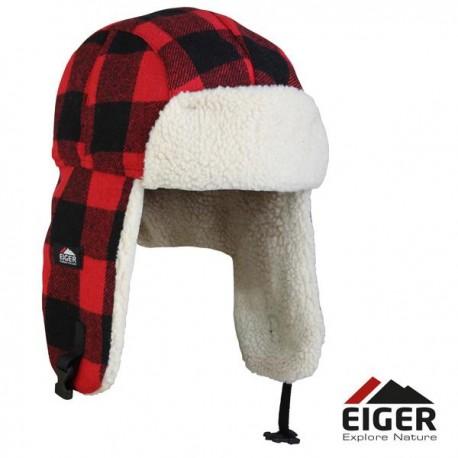 Eiger Fleece Korean Hat Red Check L/XL