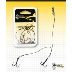 Live bait clip AKARA C (base 30 cm, leader 1x7 - 15 kg, treble hooks Nr.4, 2)